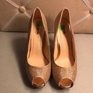 Rose Gold Glitter Heels Size 6 M